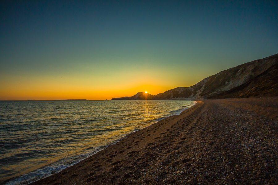 夕日と海岸